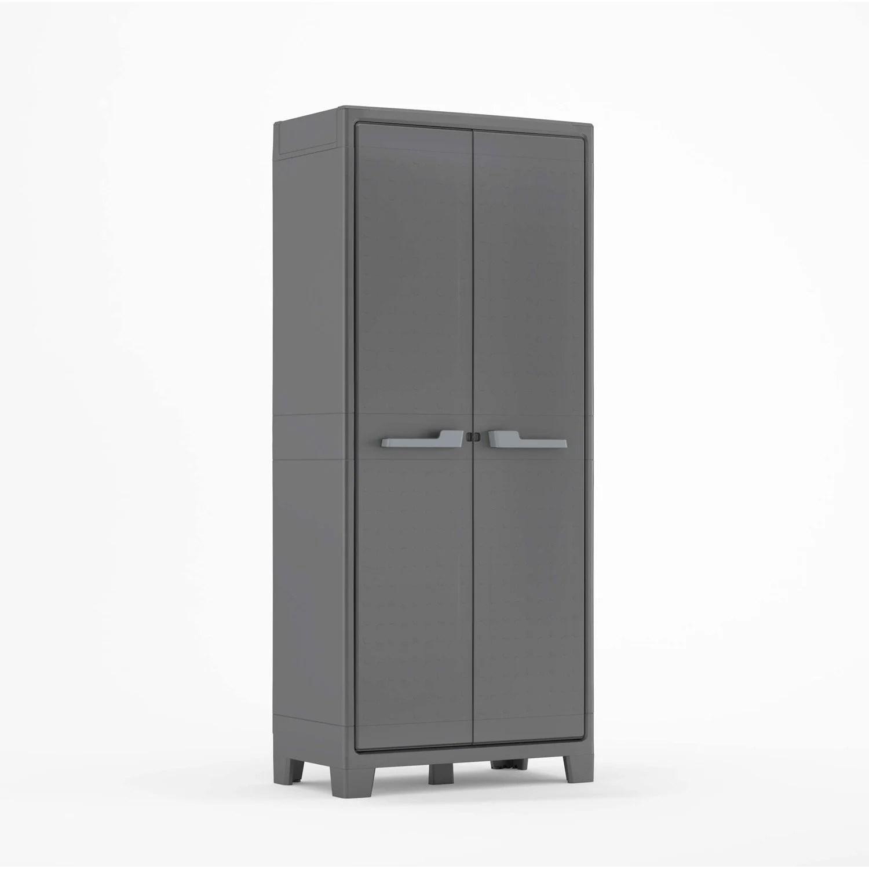 armoire de jardin resine titan anthracite l 80 x h 182 x p 44 cm