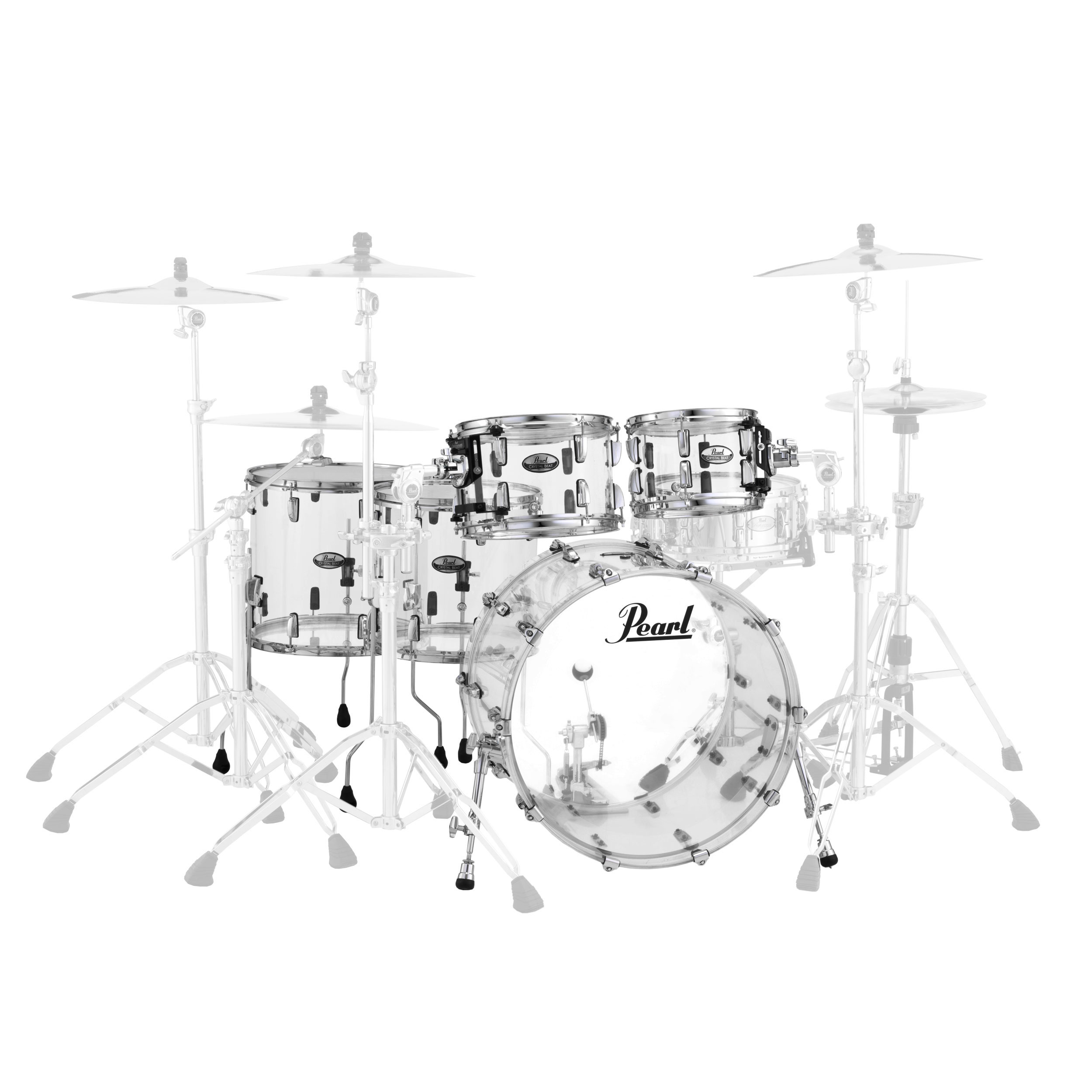 Pearl Crystal Beat Two Up Two Down Acrylic 5 Pc Drum Set Shell Pack 22 Bass 10 12 14 16 Toms