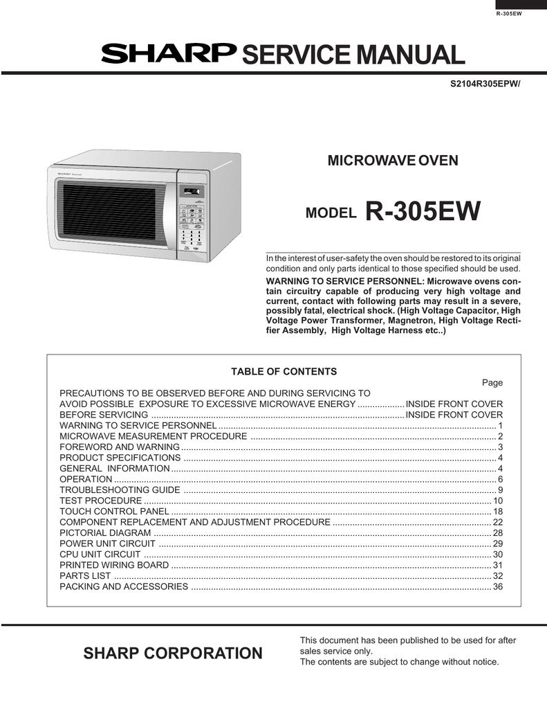 sharp r 305ew service manual manualzz