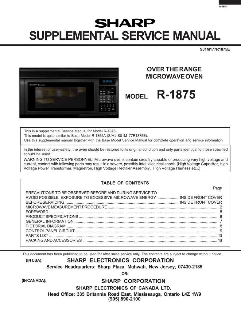 sharp r 1875 service manual manualzz