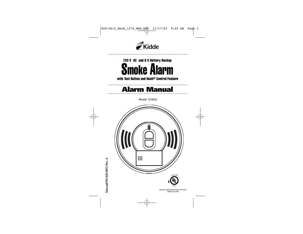 Kidde Ca Smoke Alarm User Manual