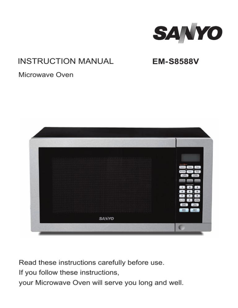 sanyo em s8588v microwave oven user