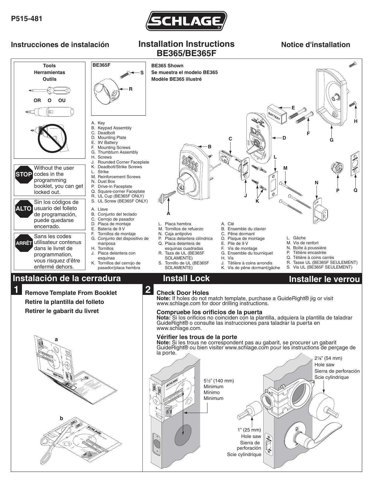 Schlage L Installation Instructions