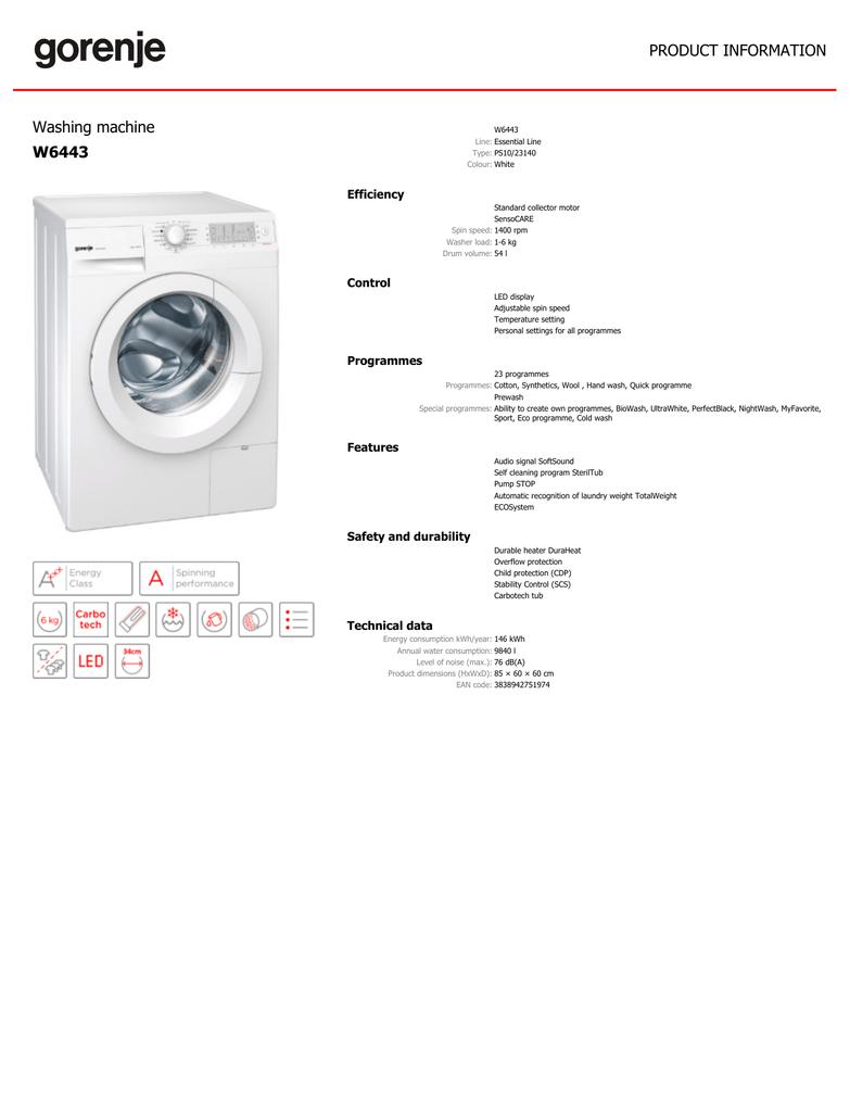 Gorenje W6443 Washing Machine Manualzz