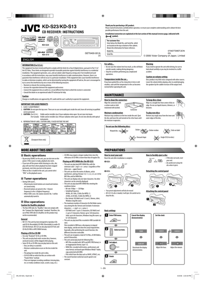 jvc kds13 user manual  manualzz