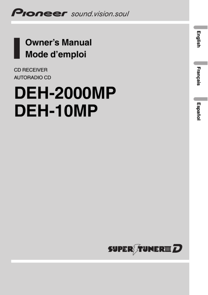 pioneer deh10mp user manual  manualzz