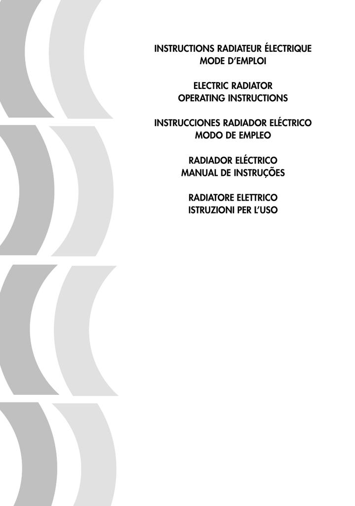 Instructions Radiateur Electrique Mode D Emploi Manualzz