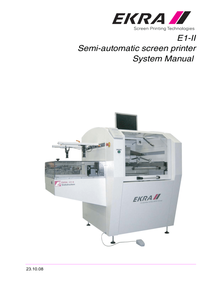 e1 ii semi automatic screen printer