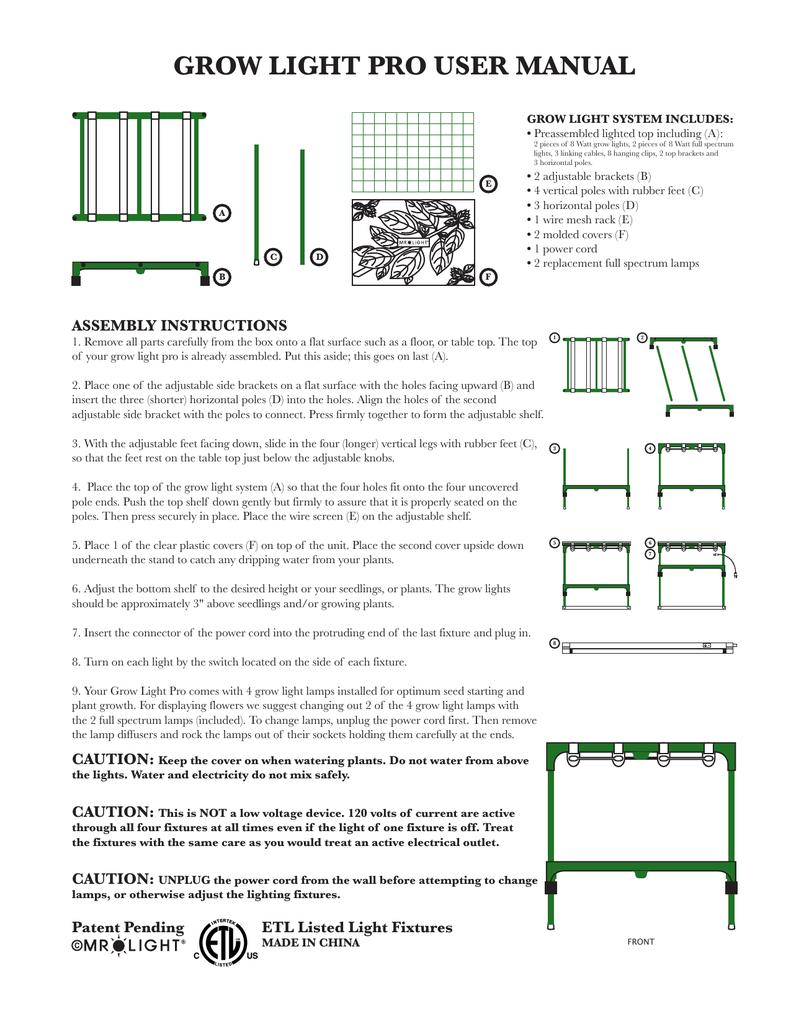 grow light pro user manual manualzz