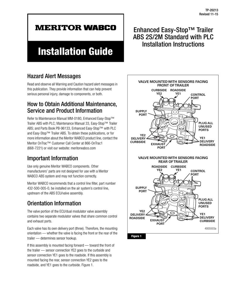Wabco Abs Modulator Valve Meritor Trailer Wiring Diagrams