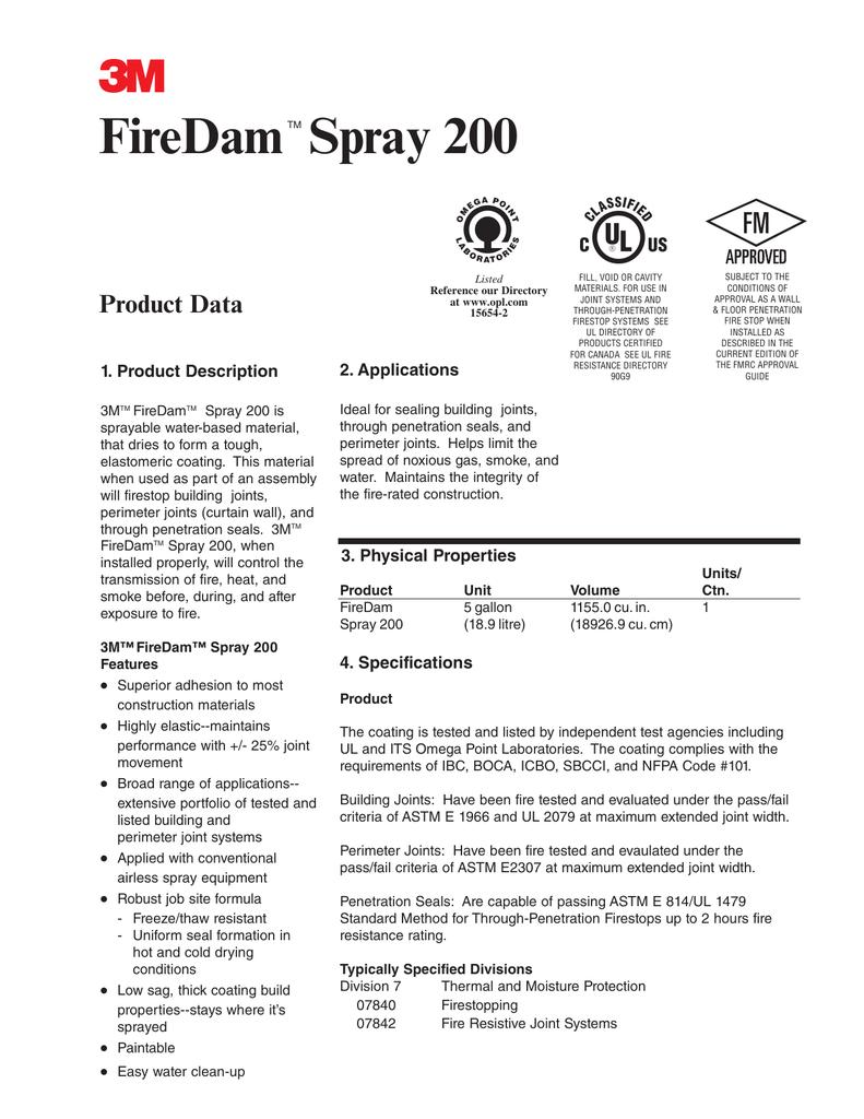 Firedam Spray 200 Product Data Code Requirement