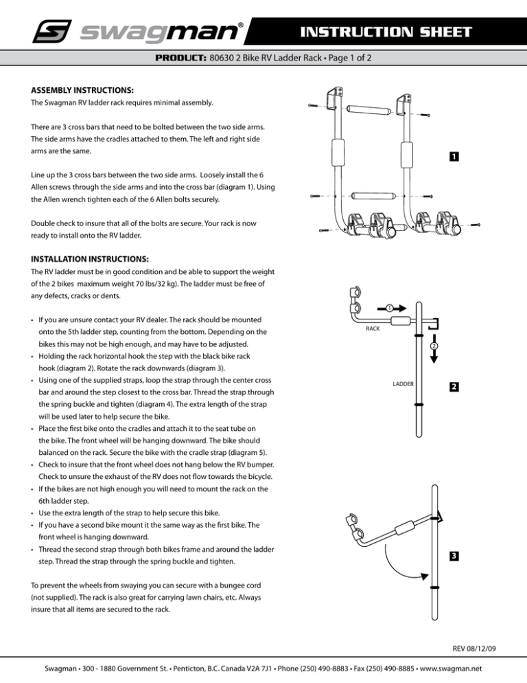 swagman 80630 ladder mounted bike rack