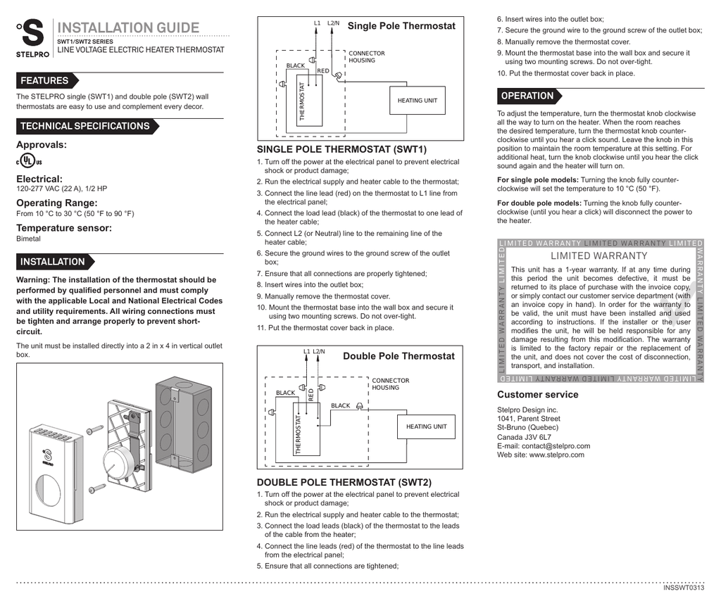 Stelpro Heater Thermostat Wiring Diagram