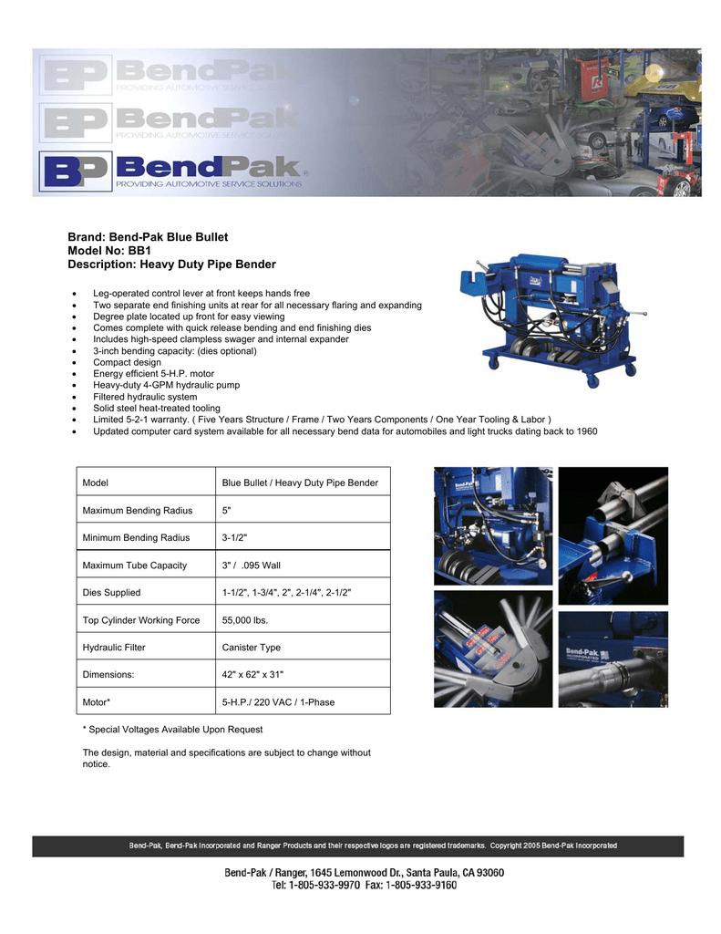 brand bend pak blue bullet model no