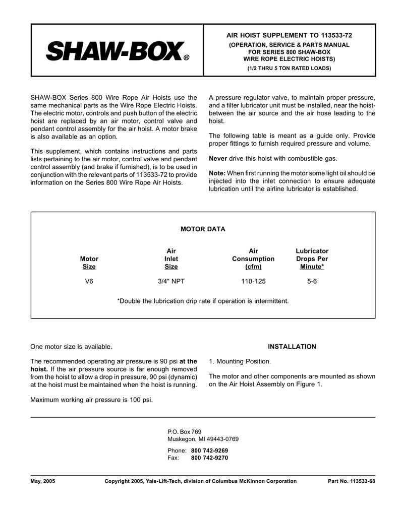 Shaw Box Hoist Wiring Diagram - Wiring