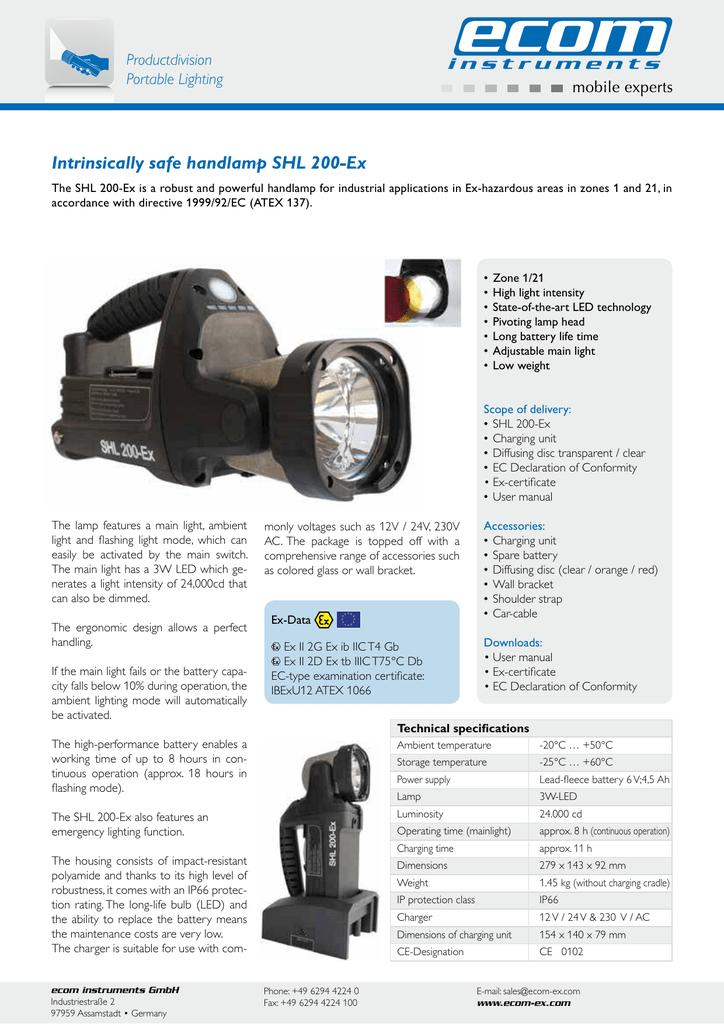 intrinsically safe handlamp shl 200 ex