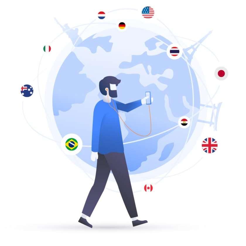 man browsing world flags
