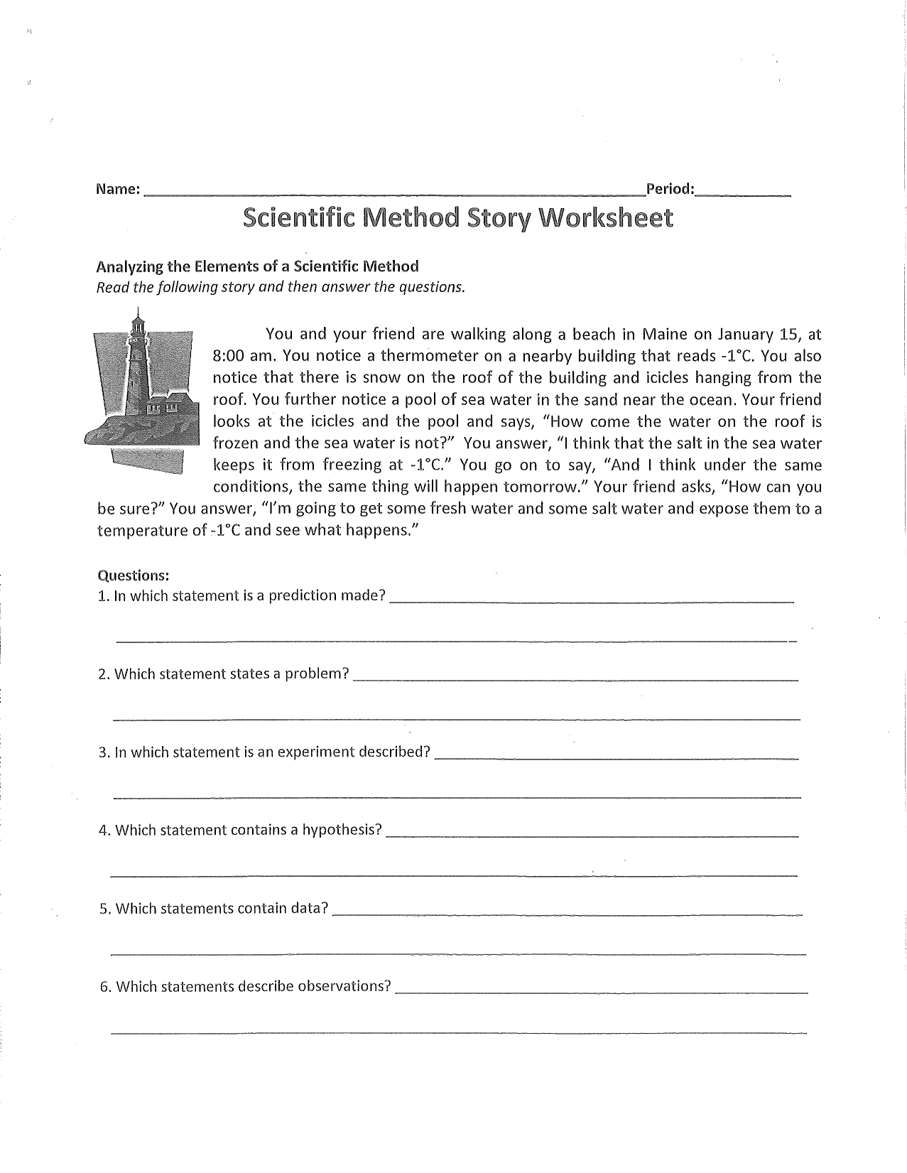 Scientific Method Worksheets Homework Or Study Guide