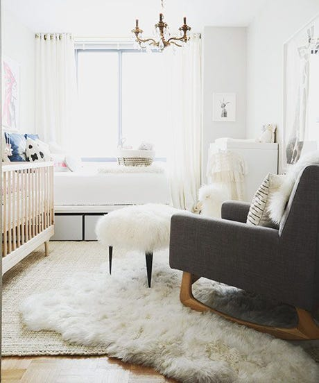 Layering Rugs Sheepskin Overlapping Area Rug Living Room Carpet Nursery Chandelier Modern Chic Home Decor Interior Design
