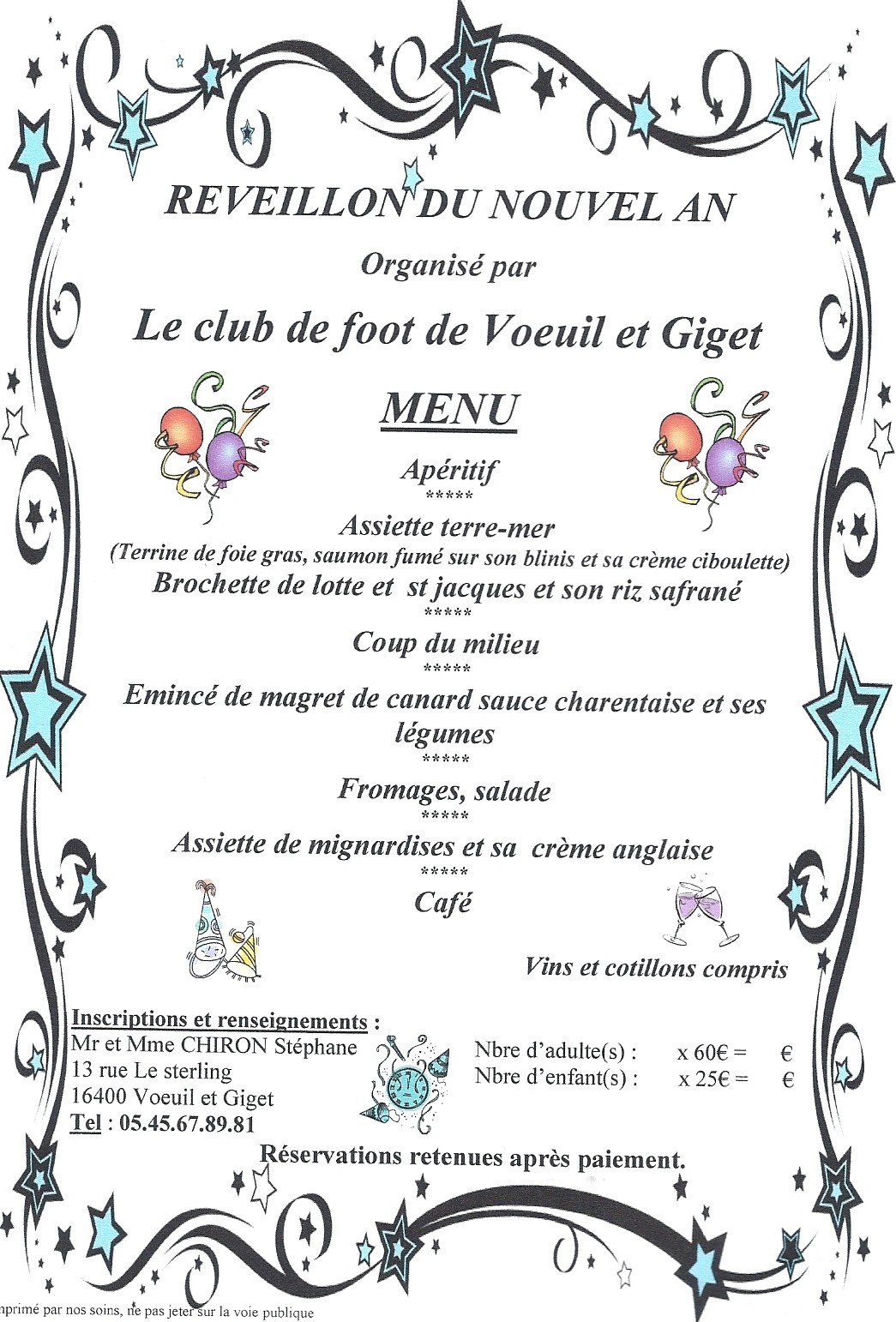 menu du reveillon du nouvel an