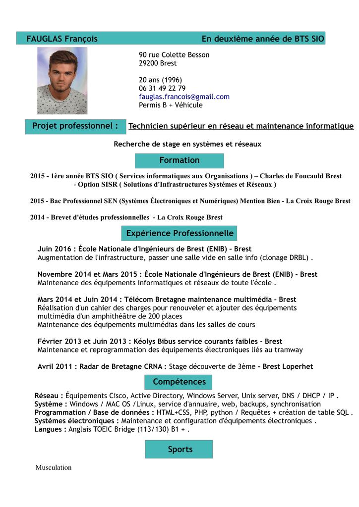 Fauglas Francois En Deuxieme Annee De Bts Sio Formation