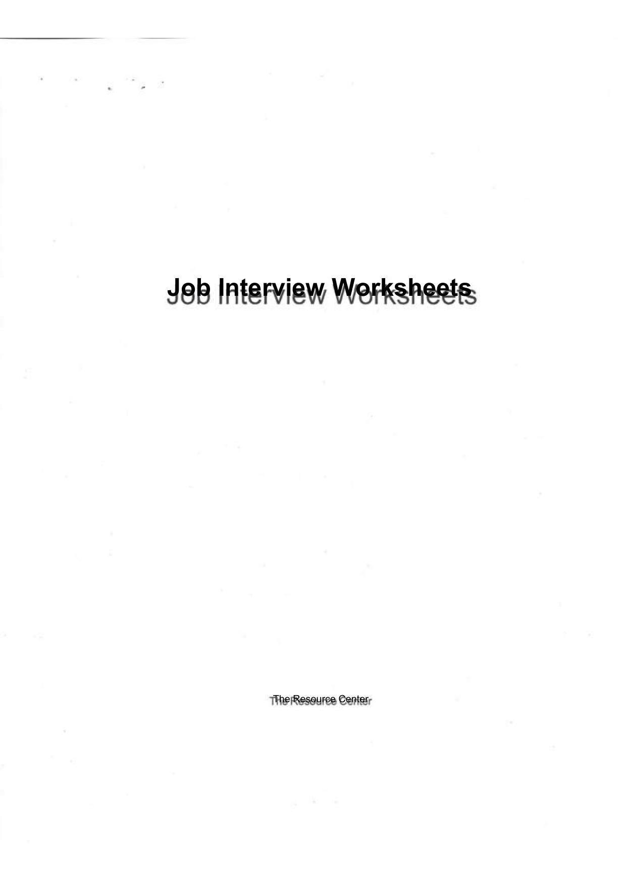 26 Job Interview Worksheets