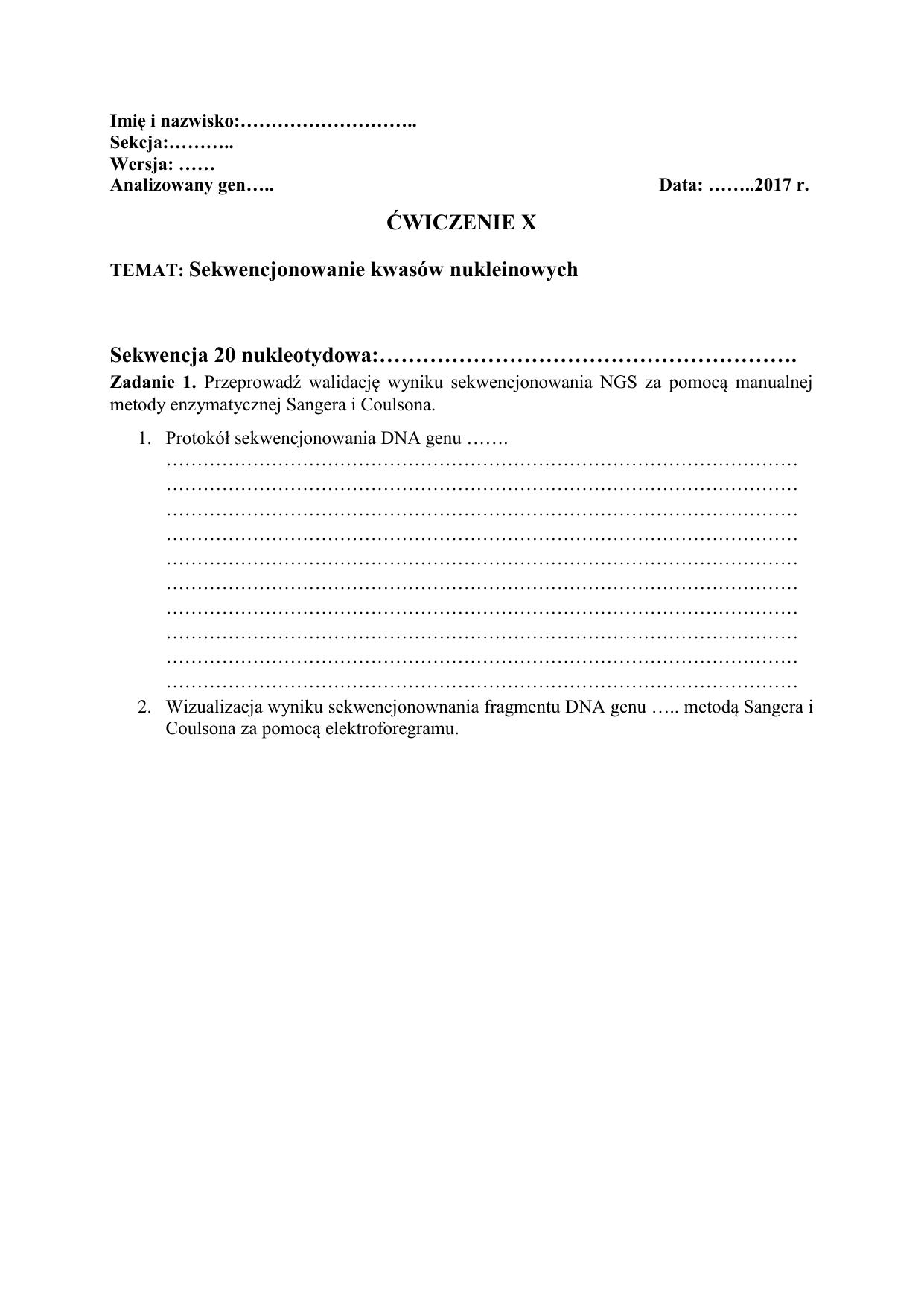 Wiczenie X Temat Sekwencjonowanie Kwasow Nukleinowych