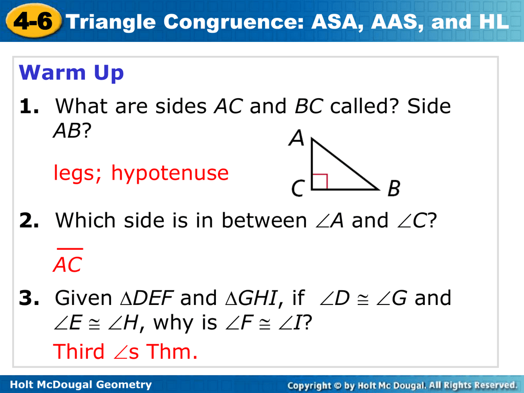 Problem Solving Triangle Congruence Asa Aas And Hl