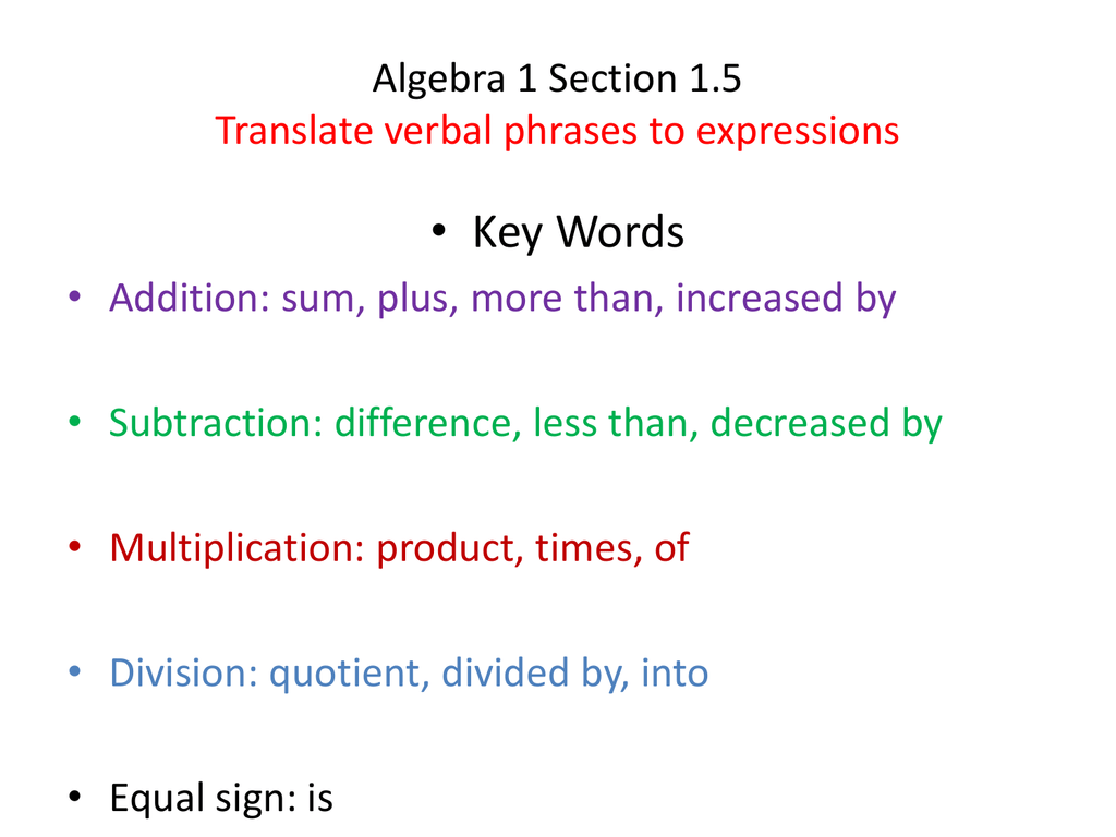 Algebra 1 Worksheet 15 Translating Expressions