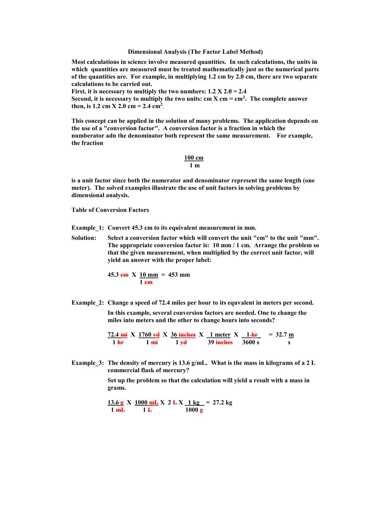 33 Dimensionalysis Factor Label Method Worksheet