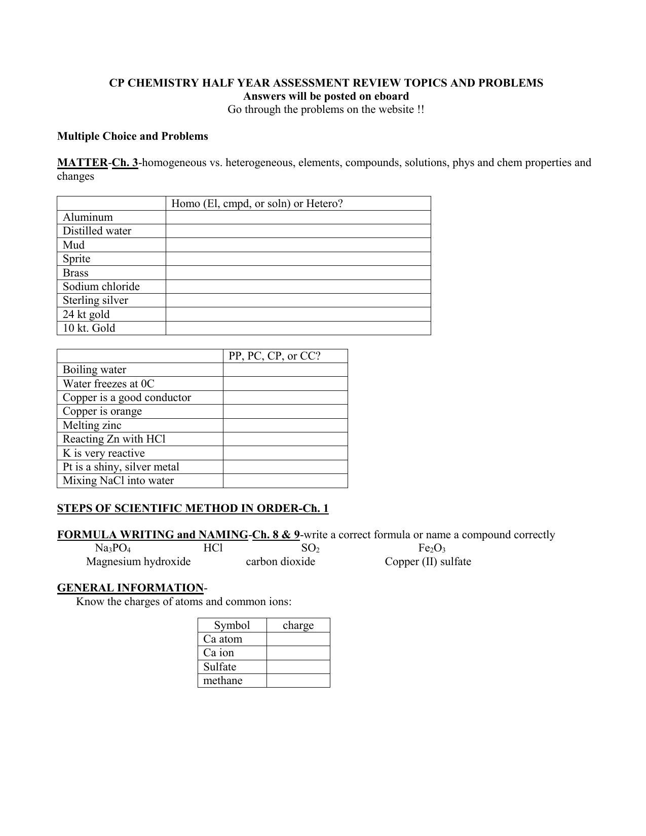 Homogeneous Vs Heterogeneous Matter Worksheet Answers