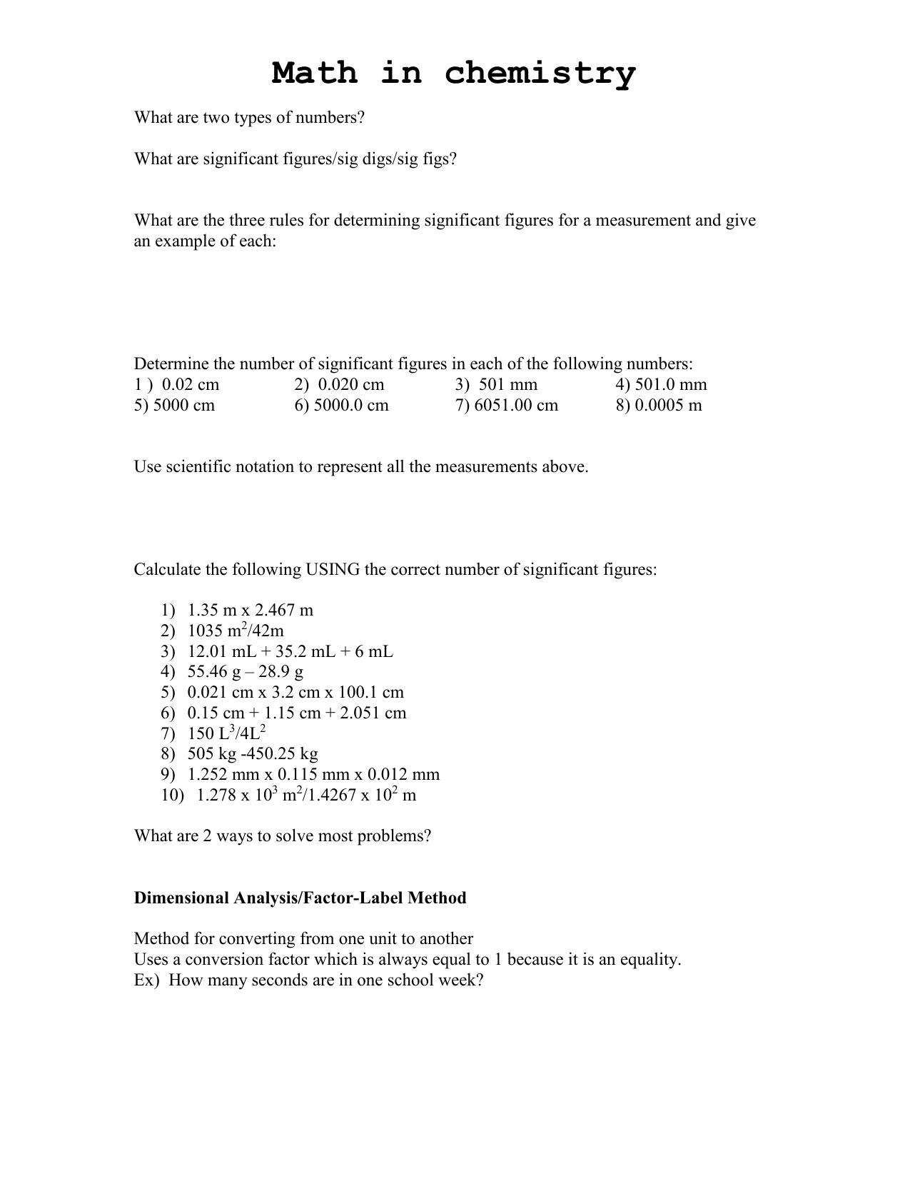 35 Dimensionalysis Factor Label Method Worksheet