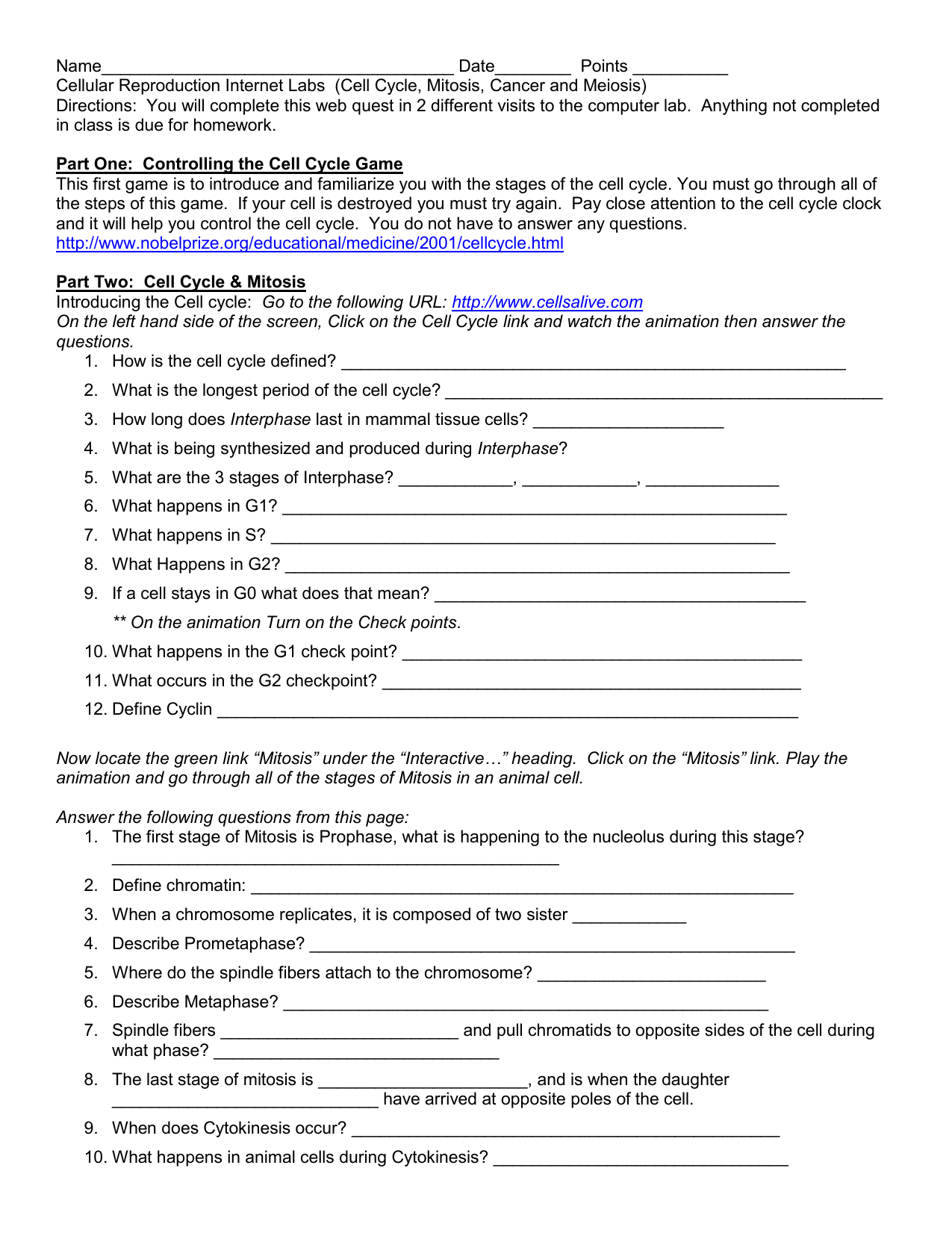 Worksheet Answer Cell Cycle And Mitosis Webquest Answers