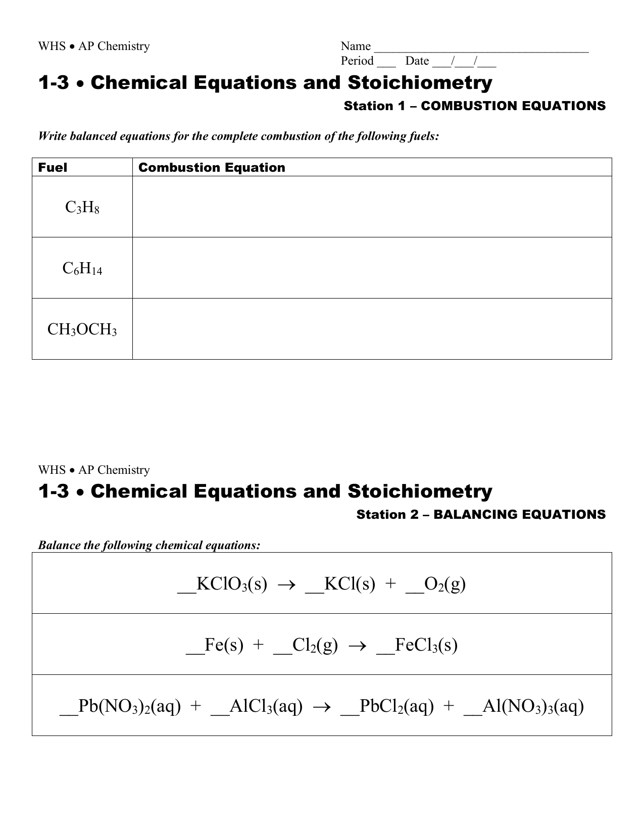 Chemical Equations And Stoichiometry Combustion Worksheet