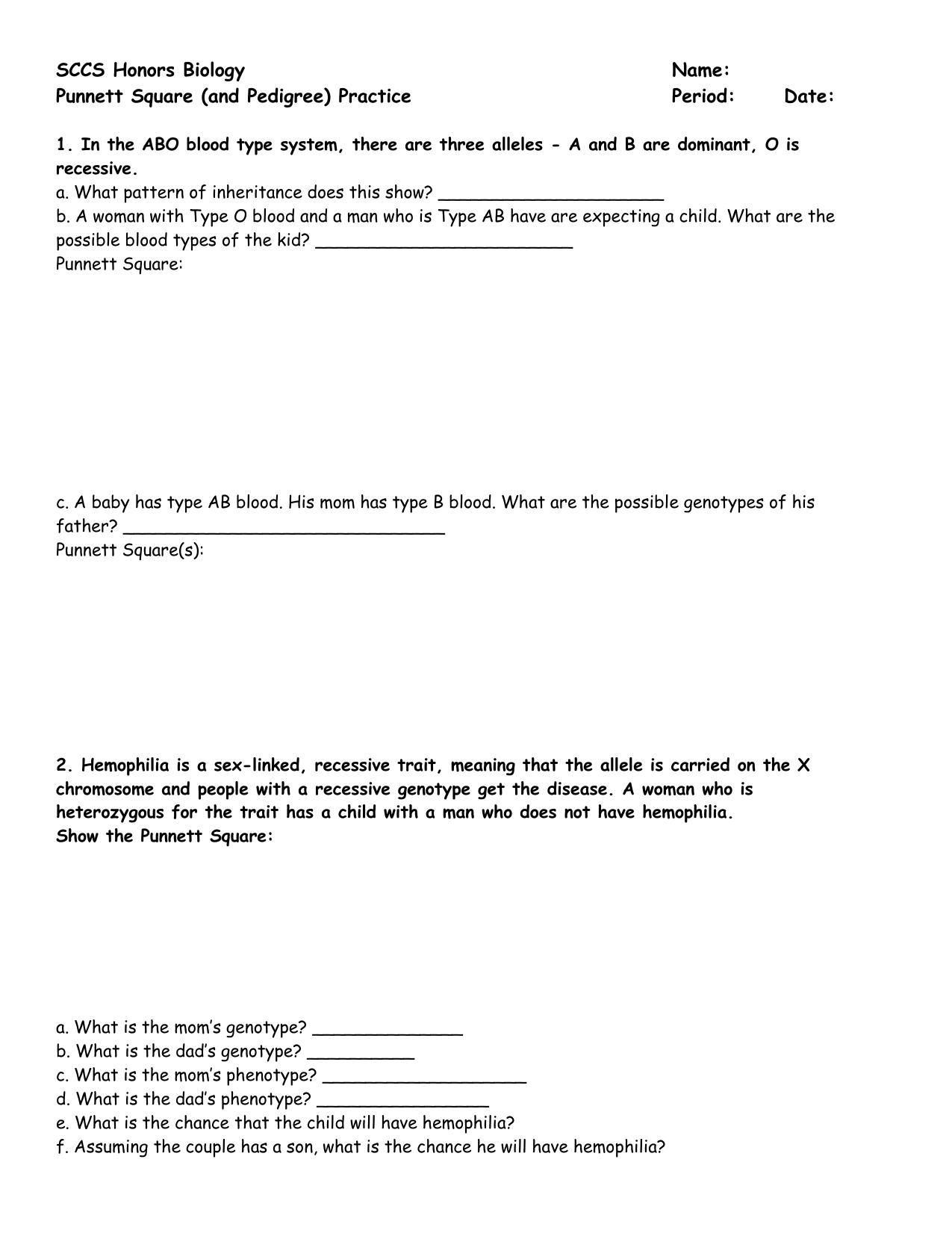 Punnett Square Practice Worksheet Answers Biology