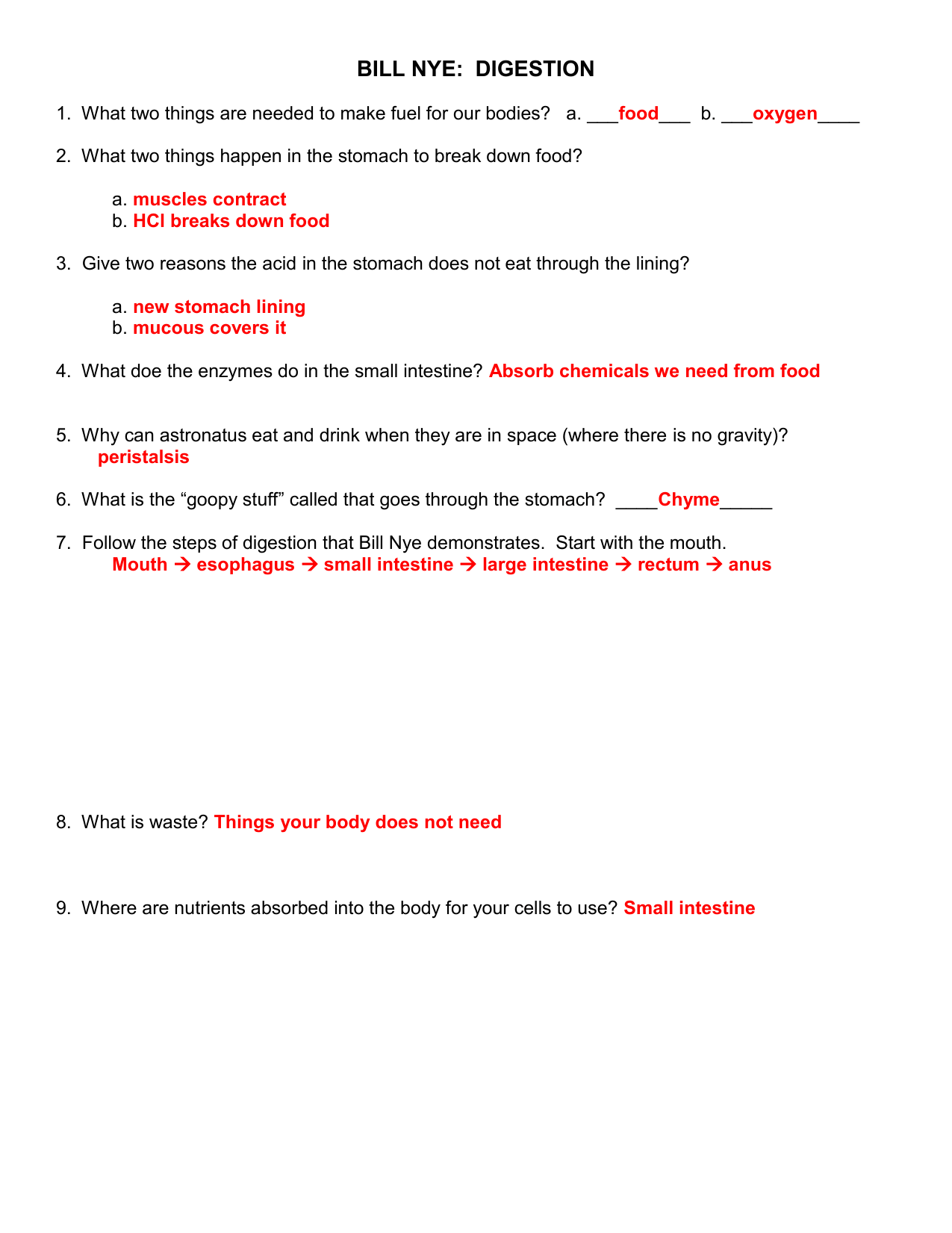 Bill Nye Nutrition Quiz Worksheet Answers