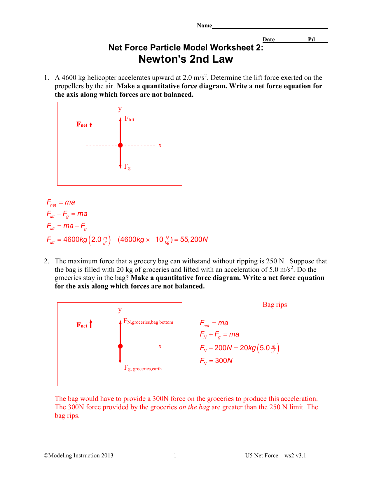 Dynamics Newton S 2nd Law Worksheet