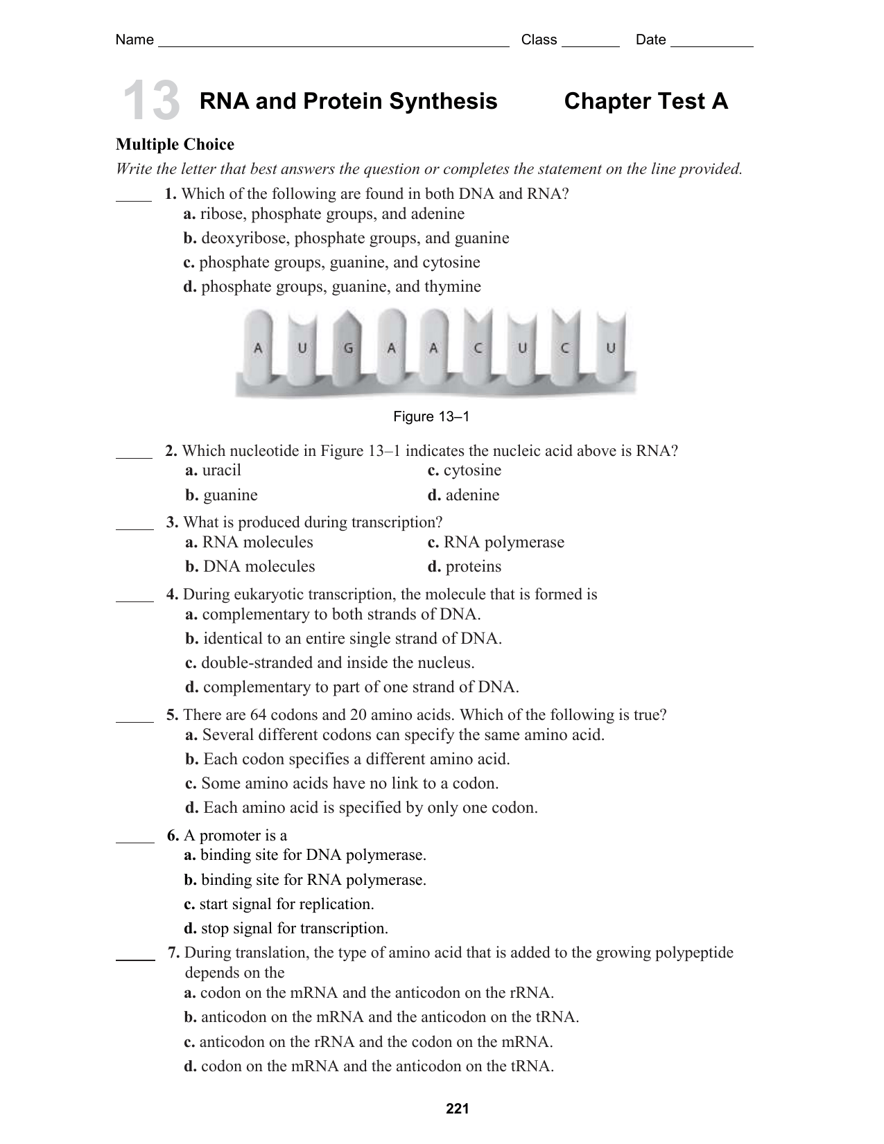 Chapter 13 Dna Rna And Proteins Answer Key