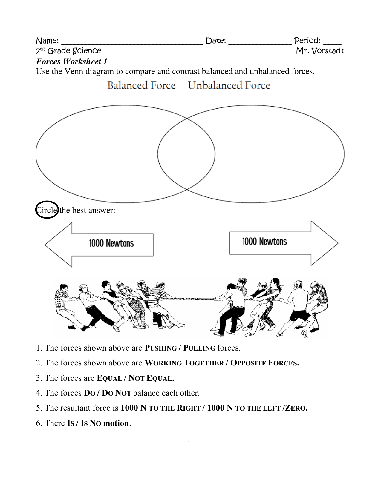 Balanced And Unbalanced Forces Worksheet