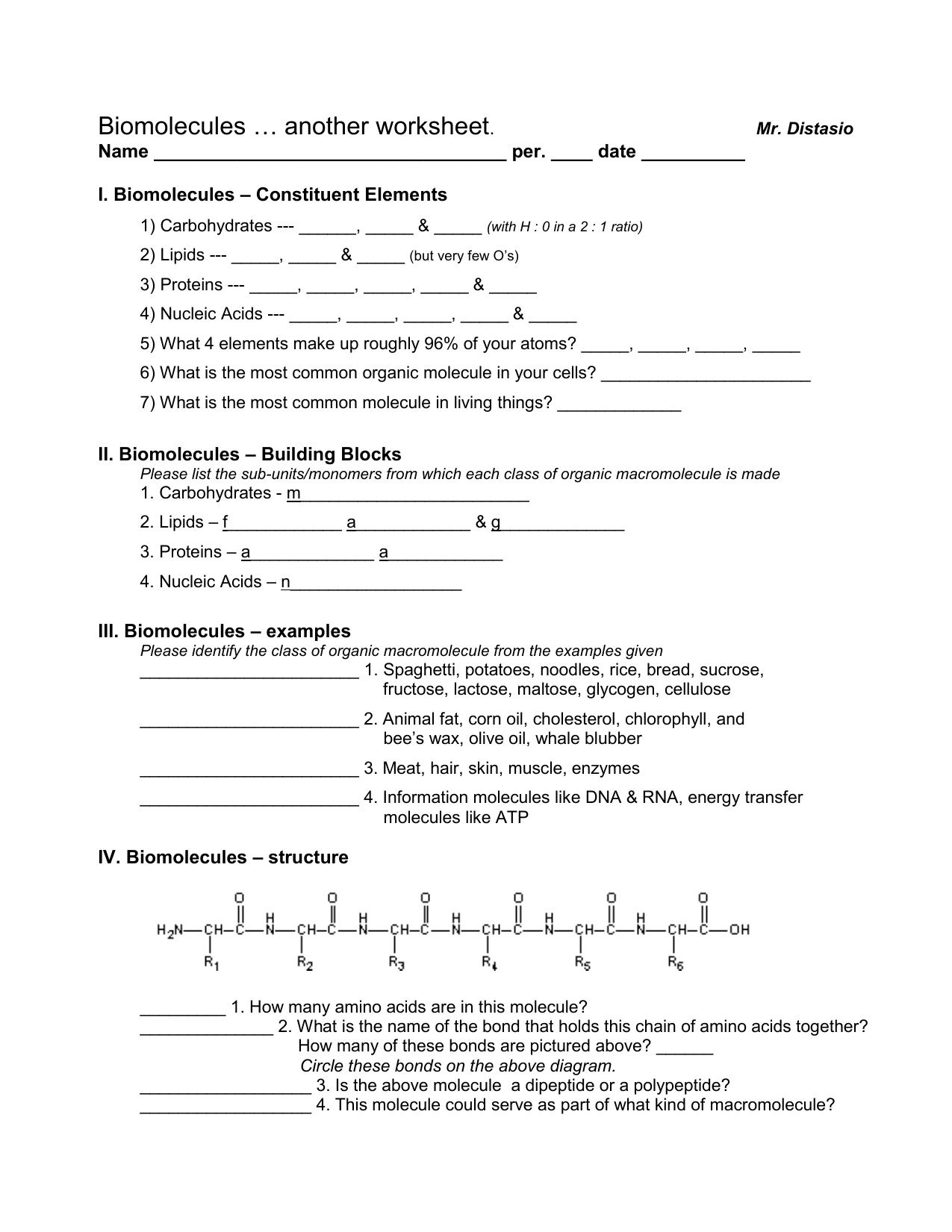 Chemistry Of Carbohydrates Proteins And Lipids Worksheet
