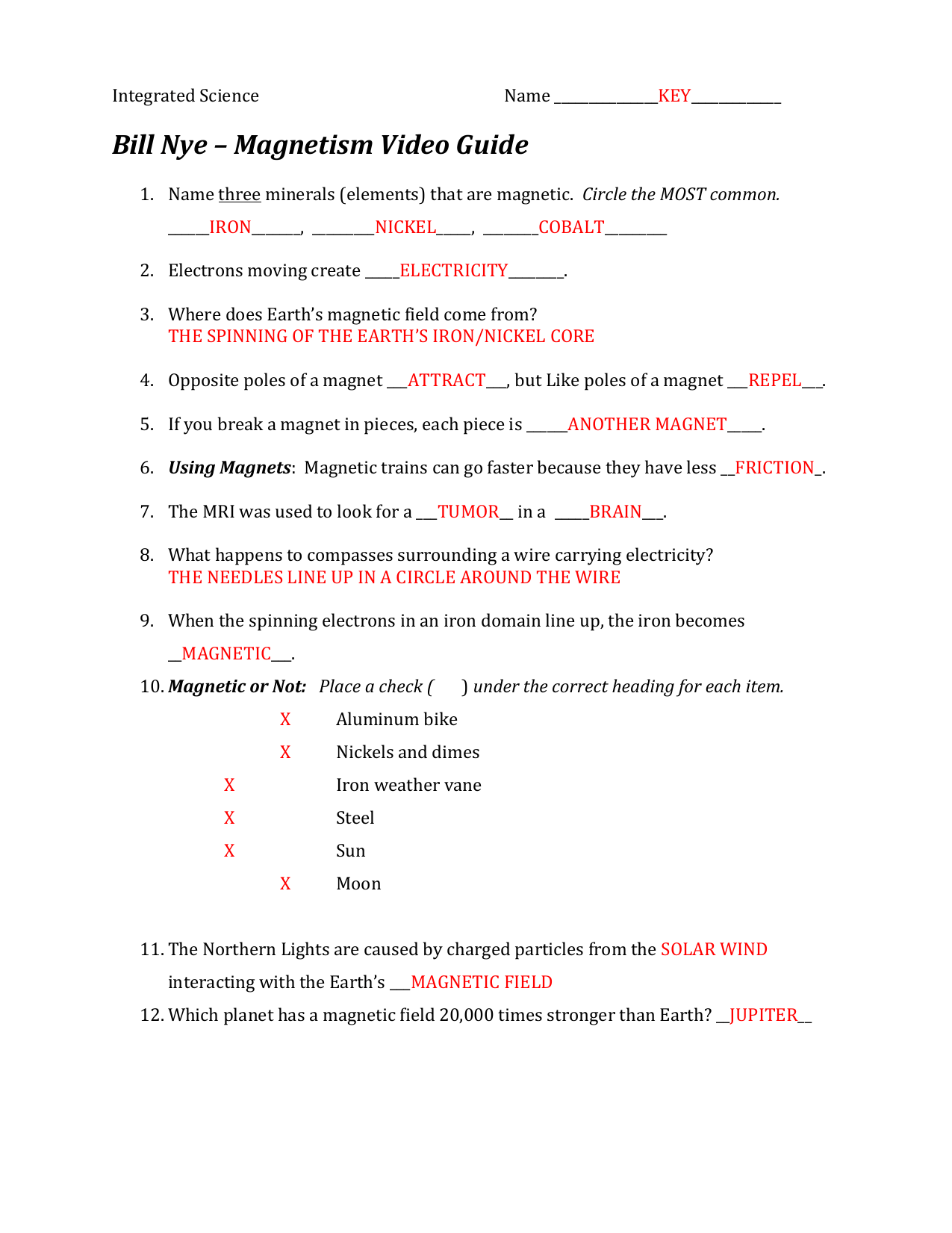Magnets And Magnetic Fields Worksheet