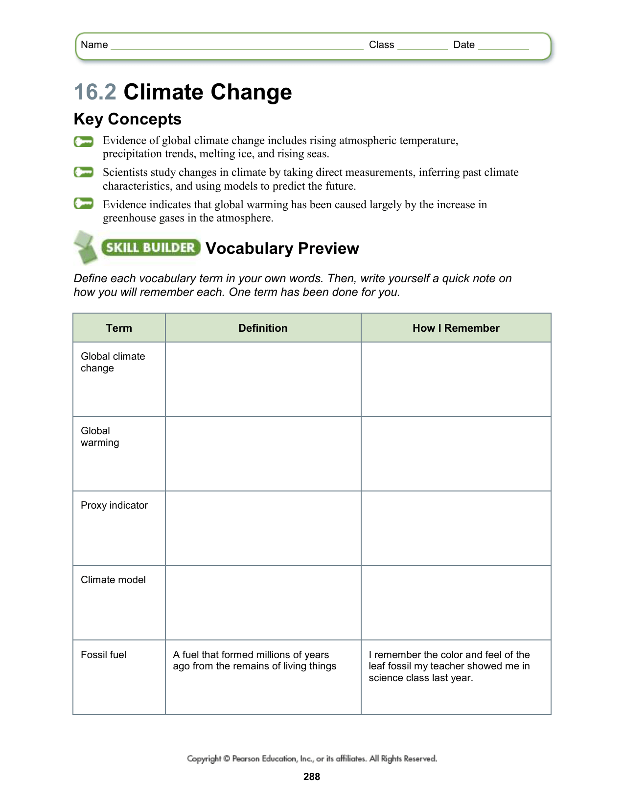Global Changes In The Atmosphere Worksheet Answers