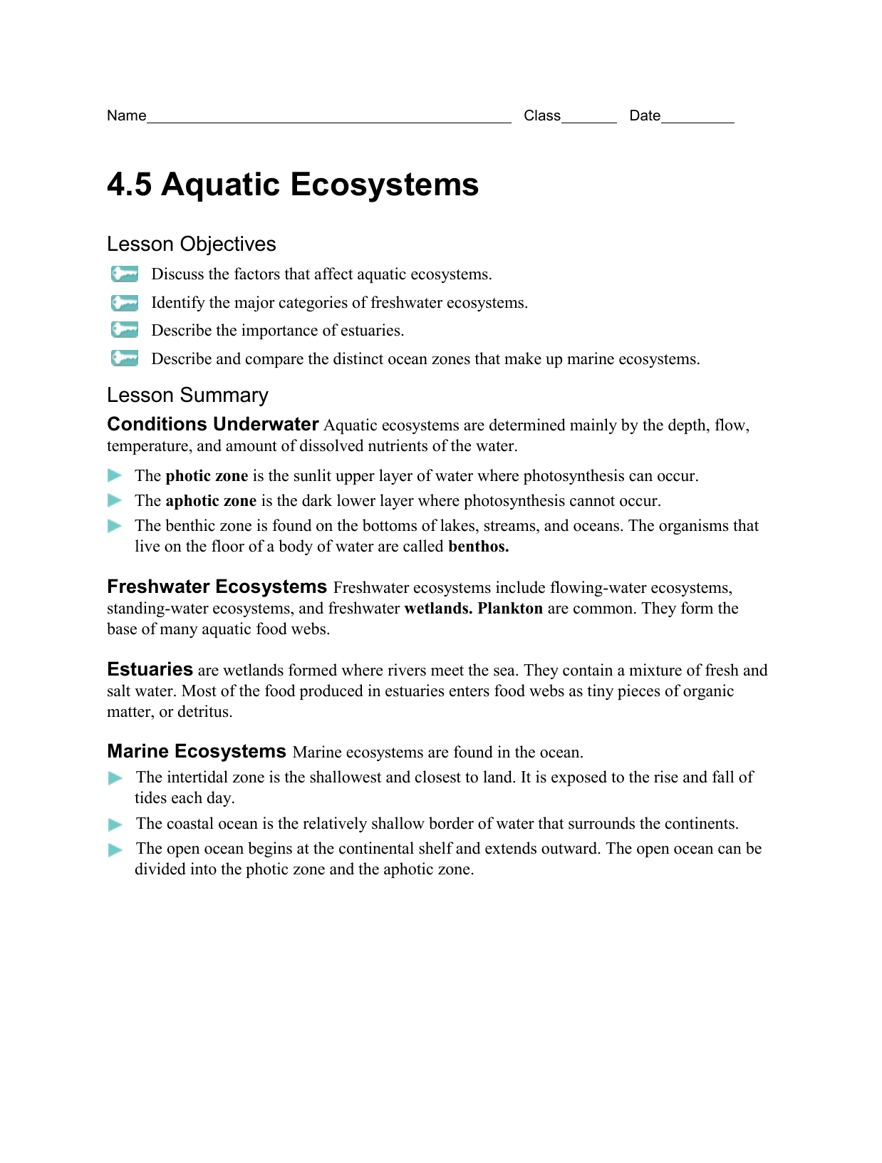 Water And Aquatic Ecosystems Worksheet Answers
