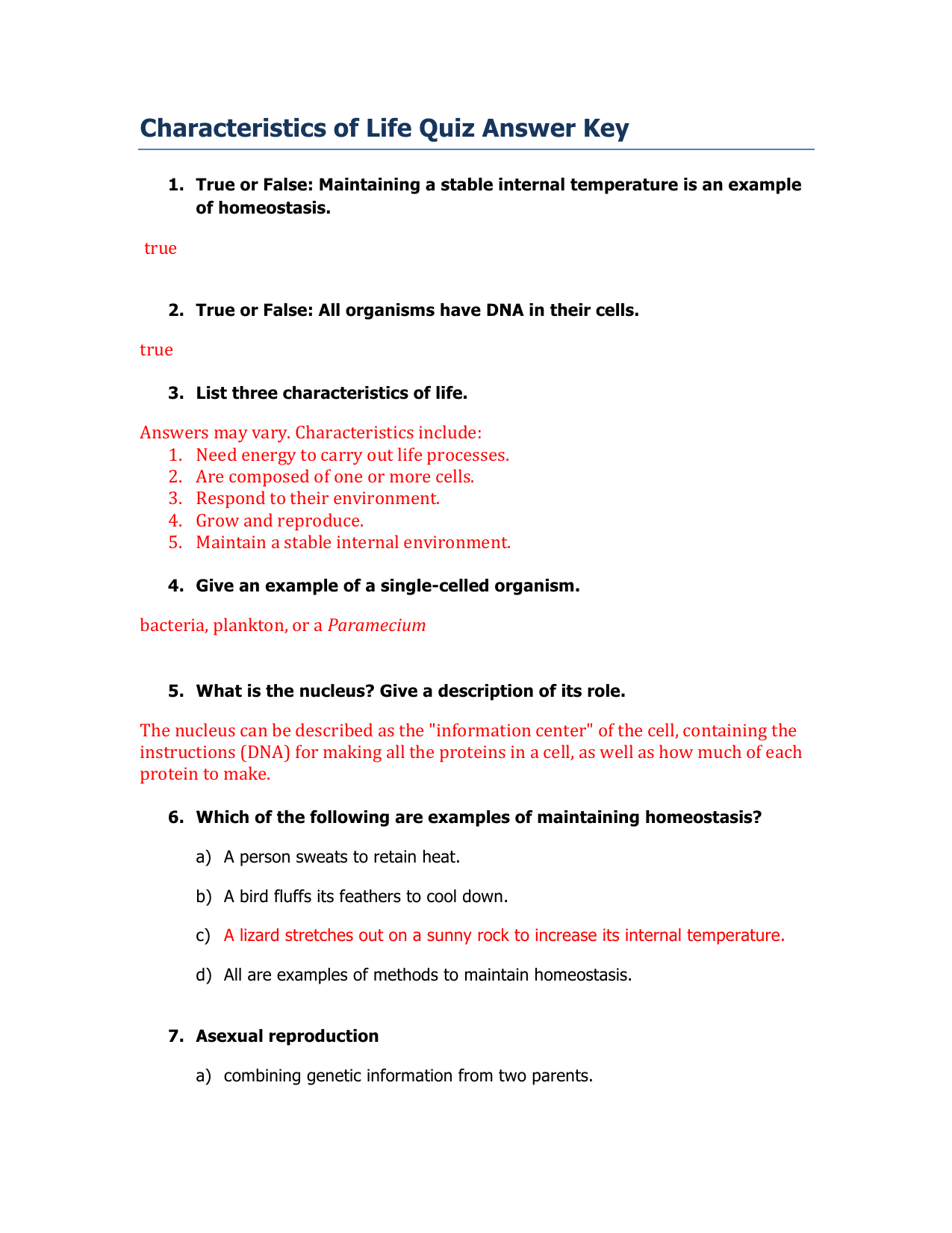 Characteristics Of Life Quiz Answer Key