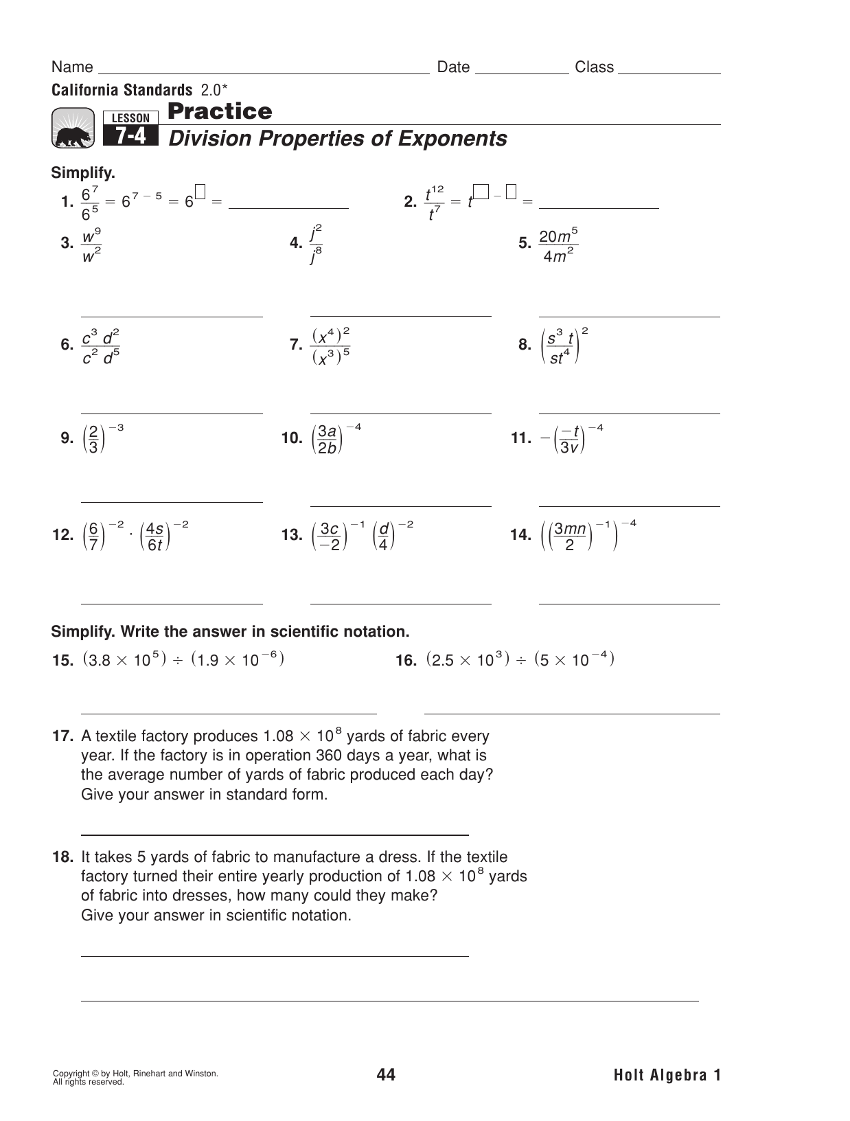 7 2 Practice Division Properties Of Exponents