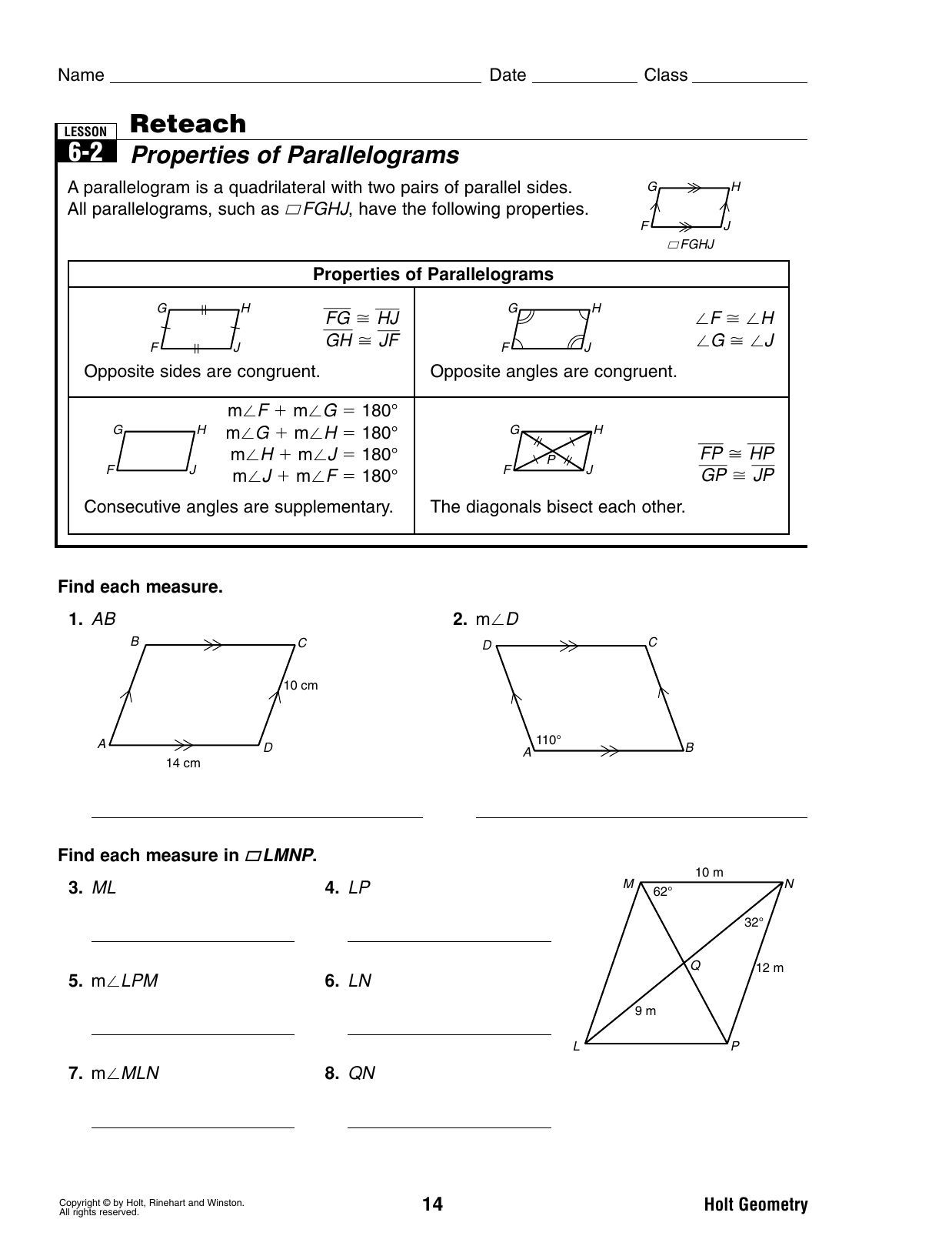 Problem Solving Lesson 6 2 Properties Of Parallelograms