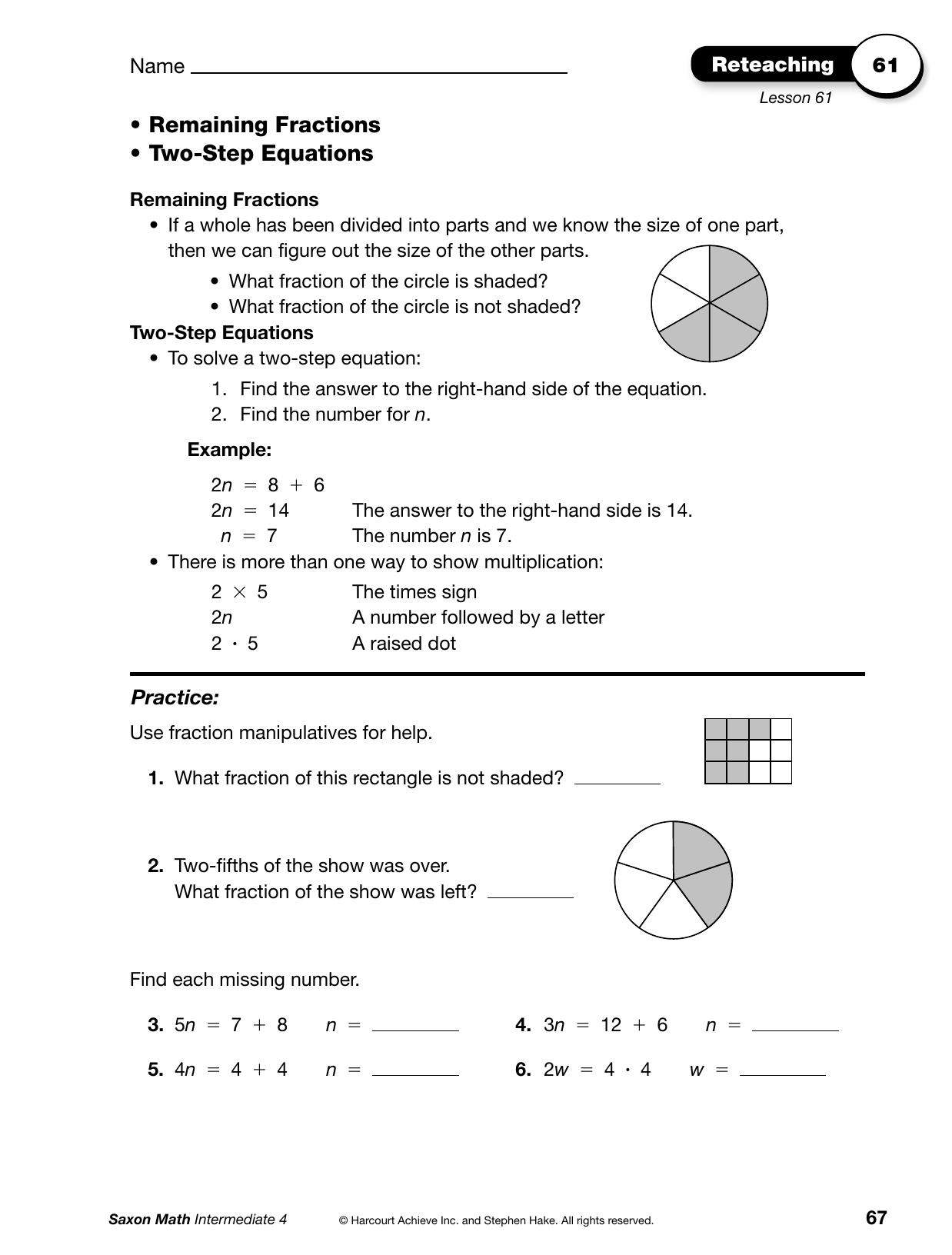 Bestseller Answers For Saxon Math Lesson 73