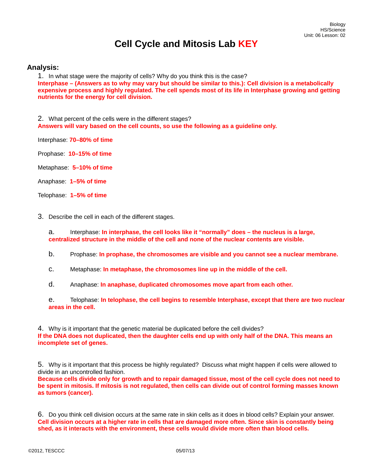 Cell Reproduction Mitosis And Meiosis Worksheet Answer Key
