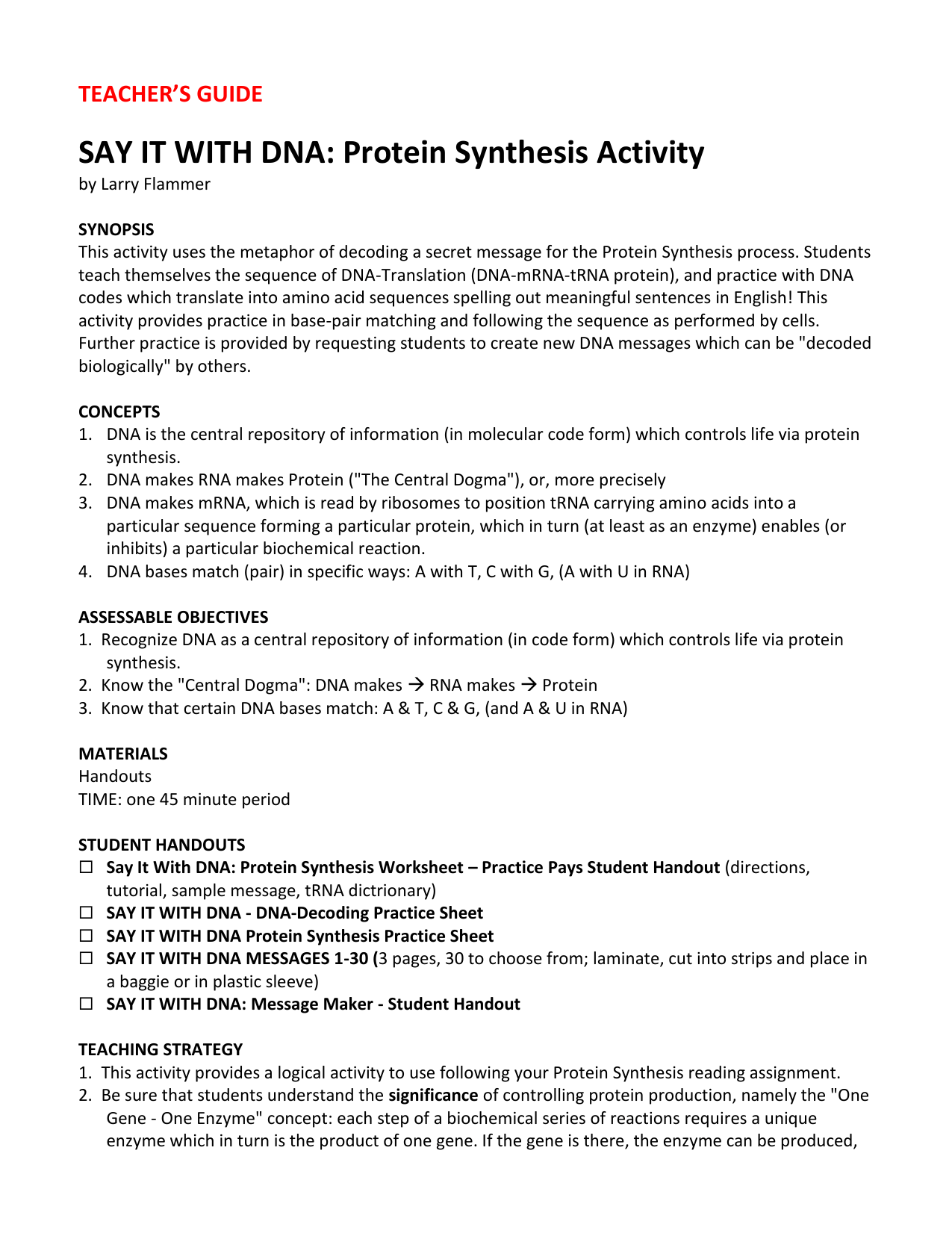 Protein Synthesis Practice 2 Worksheet Answer Key