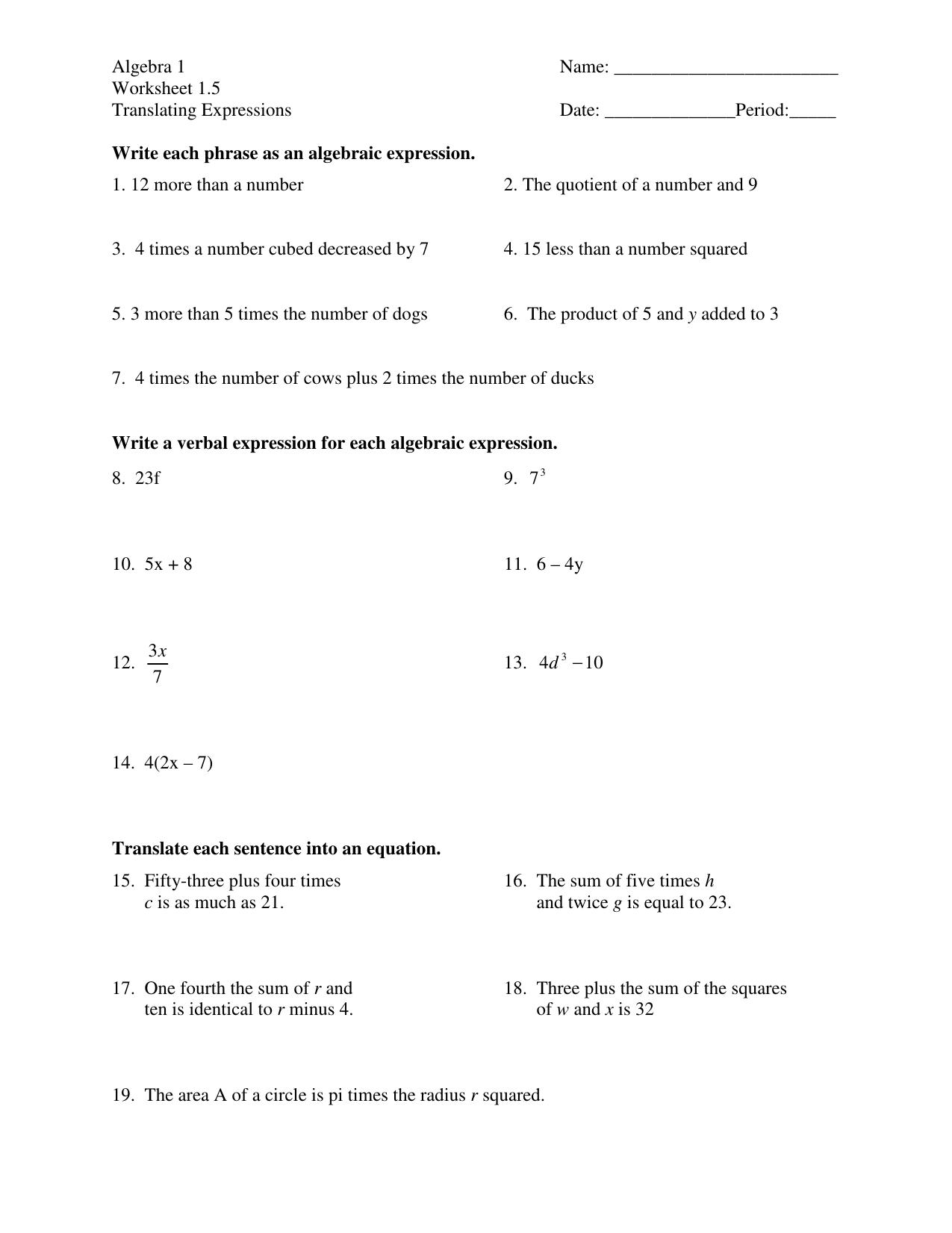 Algebra 1 Worksheet 15 Translating Expressions